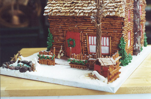 Pretzel Cabin Gingerbread House