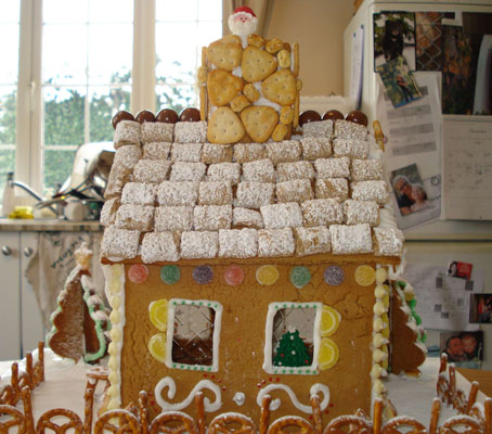 gingerbread bungalow with leaf gelatin windows