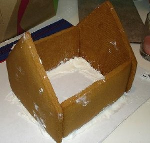 Gingerbread House Being Built