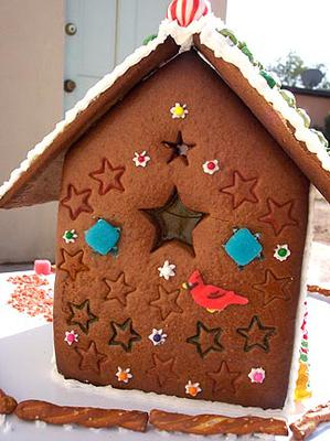 Stars embossed into the gingerbread dough before baking