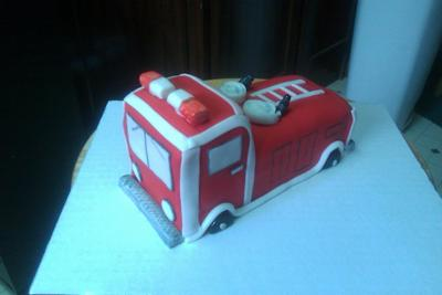 Fire Truck Cake with fondant