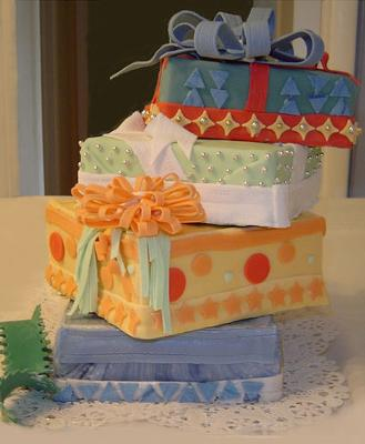 Gift Stack in Rolled Fondant