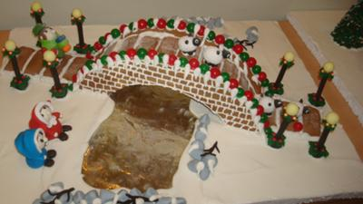 Gingerbread bridge and river