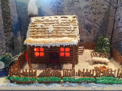 Gingerbread Log Cabin 2017: Front