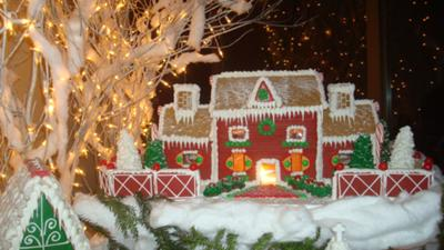 gingerbread brick house at night