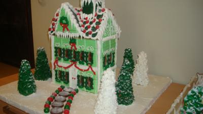 gingerbread village green house