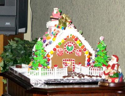 Lexi's  First Gingerbread House - Christmas 2007