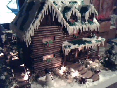 Christmas time log cabin