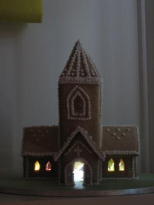 Gingerbread Church with lights