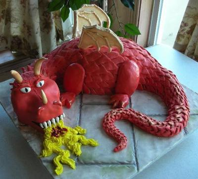 Dragon Cake with Fondant Scales