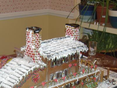 Gingerbread House Roof made of Oreo Thin Crisps